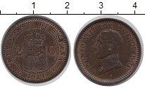 Изображение Монеты Испания 2 сентима 1911 Бронза UNC-