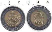 Изображение Монеты Сан-Марино 500 лир 1988 Биметалл UNC- крепость на горе - г