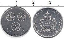 Изображение Монеты Сан-Марино 2 лиры 1993 Алюминий UNC-