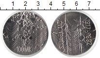 Изображение Монеты Финляндия 100 марок 1992 Серебро UNC 75 лет независимости