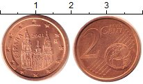 Изображение Монеты Испания 2 евроцента 2001 Бронза UNC-
