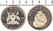 Изображение Монеты Уганда 1000 шиллингов 2002 Посеребрение Proof `Фауна. Серия ``Гори