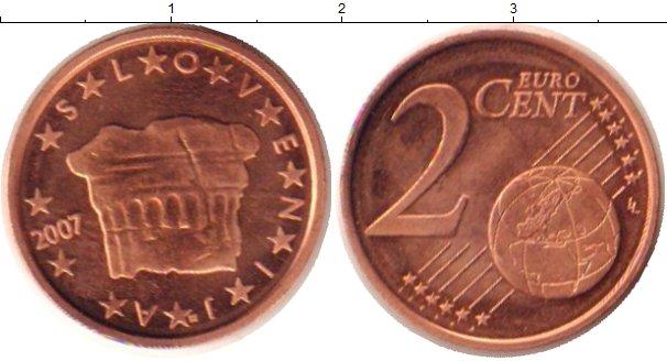 Картинка Монеты Словения 2 евроцента Бронза 2007