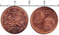 Изображение Монеты Литва 2 евроцента 2015 Бронза UNC- Рыцарь верхом на лош