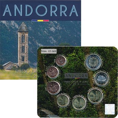Изображение Подарочные монеты Андорра Евронабор 2016 года 2016  UNC В набор входят восем