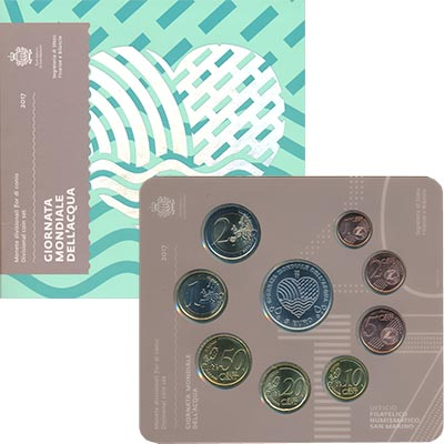 Изображение Подарочные монеты Сан-Марино Евронабор 2017 года 2017  UNC Набор из восьми моне
