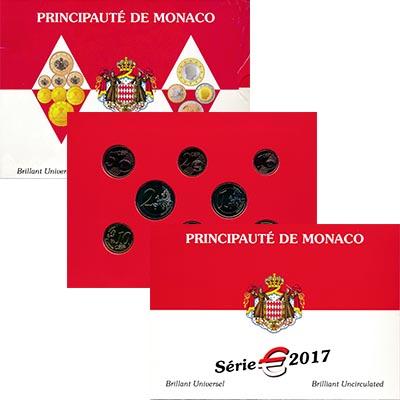 Изображение Подарочные монеты Монако Евронабор 2017 года 2017  BUNC Набор из восьми моне