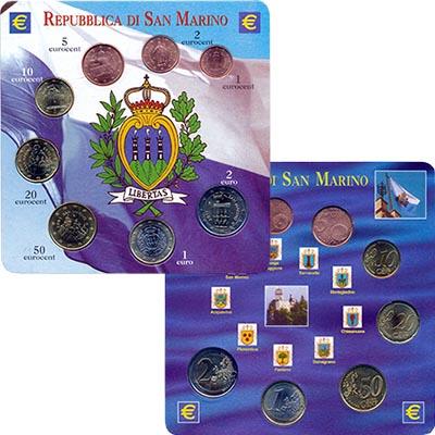 Изображение Подарочные монеты Сан-Марино Набор евромонет 0  UNC