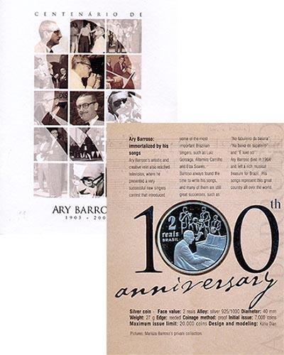 Изображение Подарочные монеты Бразилия Ари Баррозу 2003 Серебро Proof `Монета номиналом 2