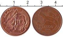 Изображение Барахолка Бразилия 5 сентаво 2006 сталь покрытая латунью XF-