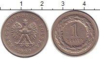 Изображение Барахолка Польша 1 злотый 1992 Медно-никель XF
