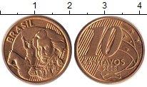 Изображение Барахолка Бразилия 10 сентаво 2008 сталь покрытая латунью