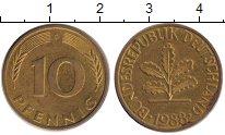 Изображение Дешевые монеты ФРГ 10 пфеннигов 1988 Латунь-сталь XF