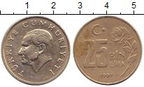 Изображение Дешевые монеты Турция 25.000 лир 1997 Никель VF