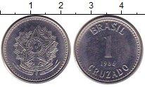 Изображение Дешевые монеты Бразилия 1 крузадо 1986 нержавеющая сталь XF