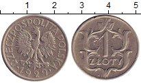 Изображение Барахолка Польша 1 злотый 1929 Медно-никель XF-