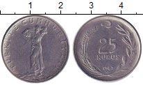 Изображение Дешевые монеты Турция 25 куруш 1967 нержавеющая сталь XF