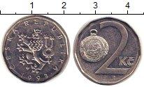 Изображение Дешевые монеты Чехия 2 кроны 1993 Сталь покрытая никелем XF-