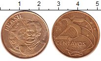 Изображение Барахолка Бразилия 25 сентаво 2009 Латунь-сталь XF+