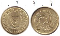 Изображение Дешевые монеты Кипр 1 цент 1996 Латунь-сталь XF+