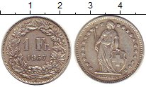 Изображение Монеты Швейцария 1 франк 1957 Серебро XF В