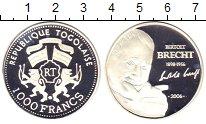 Изображение Монеты Того 1000 франков 2006 Серебро Proof