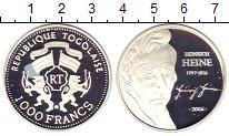 Монета Того 1000 франков Серебро 2006 Proof фото