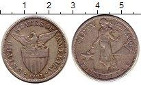 Изображение Монеты Филиппины 50 сентаво 1907 Серебро XF- Американская  админи