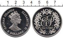 Изображение Монеты Каймановы острова 5 долларов 1987 Серебро Proof Елизавета II.  40 -