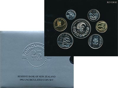 Изображение Подарочные монеты Новая Зеландия Набор 1992 года 1992  UNC <br>Подарочный набор