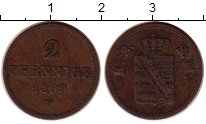 Изображение Монеты Саксония 2 пфеннига 1859 Медь XF- Иоганн
