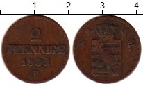 Изображение Монеты Германия Саксония 2 пфеннига 1855 Медь XF-