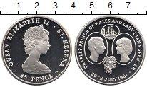 Изображение Монеты Остров Святой Елены 25 пенсов 1981 Серебро Proof
