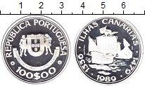 Изображение Монеты Португалия 100 эскудо 1989 Серебро Proof- Открытие  Канарских