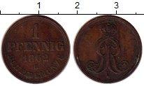 Изображение Монеты Германия Ганновер 1 пфенниг 1862 Медь XF-