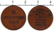 Изображение Монеты Саксония 2 пфеннига 1856 Медь XF- Иоганн