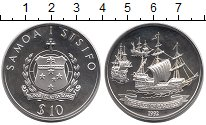 Изображение Монеты Самоа 10 долларов 1992 Серебро Proof Корабли  Колумба