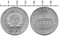 Изображение Монеты ГДР 20 марок 1990 Серебро UNC Годовщина объединени