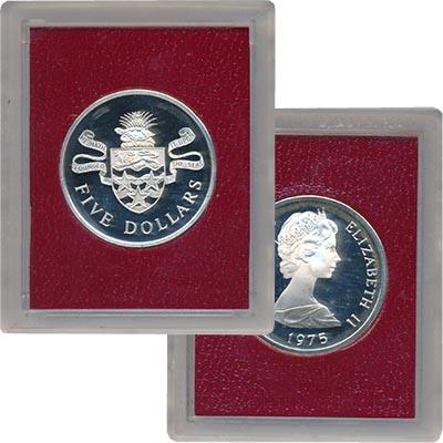 Изображение Монеты Каймановы острова 5 долларов 1975 Серебро Proof- Елизавета II