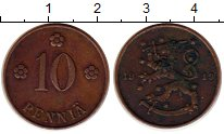 Изображение Монеты Финляндия 10 пенни 1919 Медь XF Герб