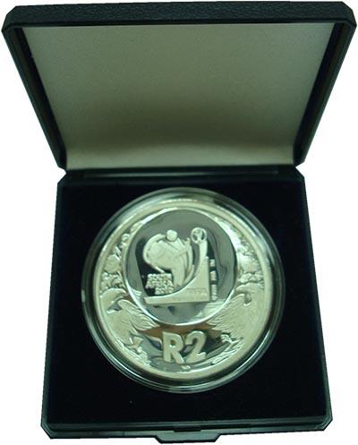 Изображение Подарочные монеты ЮАР 2 ранда 2006 Серебро Proof Чемпионат мира по фу