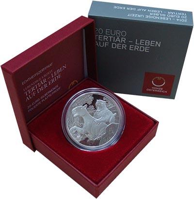 Изображение Подарочные монеты Австрия 20 евро 2014 Серебро Proof Третичный период. Се