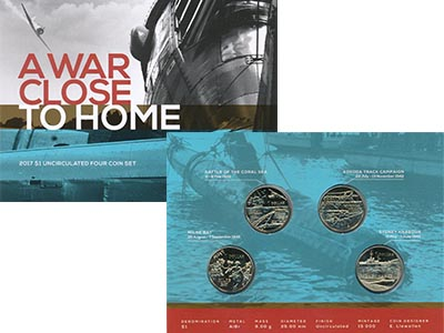 Изображение Подарочные монеты Австралия Вторая мировая война 2017 Латунь UNC Набор из четырех мон