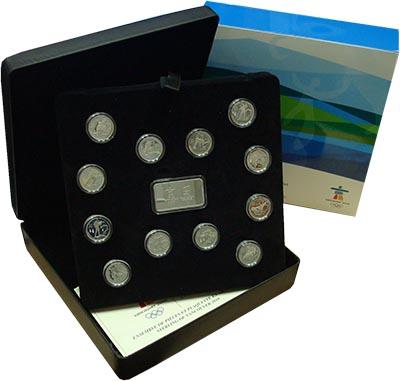 Изображение Подарочные монеты Канада Зимняя олимпиада в Ванкувере 0 Серебро Proof Набор из двенадцати