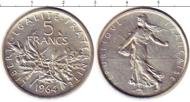 Картинка Монеты Франция 5 франков Серебро 1964
