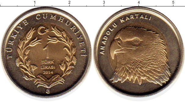 Картинка Монеты Турция 1 лира Биметалл 2014
