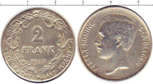 Картинка Монеты Бельгия 2 франка Серебро 1912