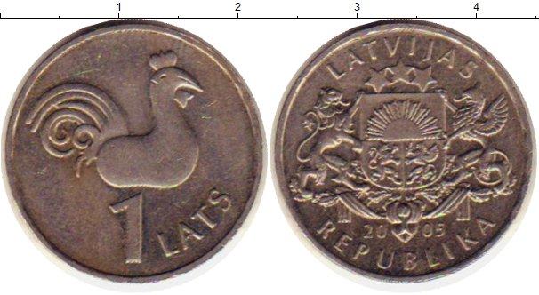 Картинка Монеты Латвия 1 лат Медно-никель 2005