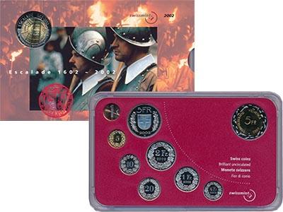 Изображение Подарочные монеты Швейцария Набор 2002 года 2002  BUNC В набор входят cемь
