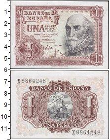Изображение Боны Испания 1 песета 1953  XF+ <br>Адмирал Альваро